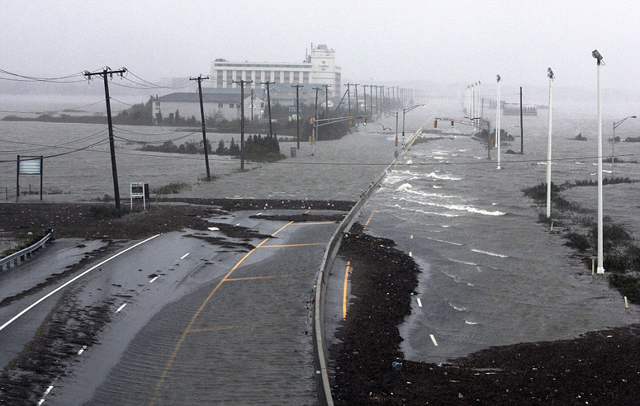carretera inundada en Atlantic city