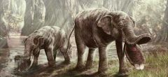 El elefante prehistórico con una enorme pala en la boca